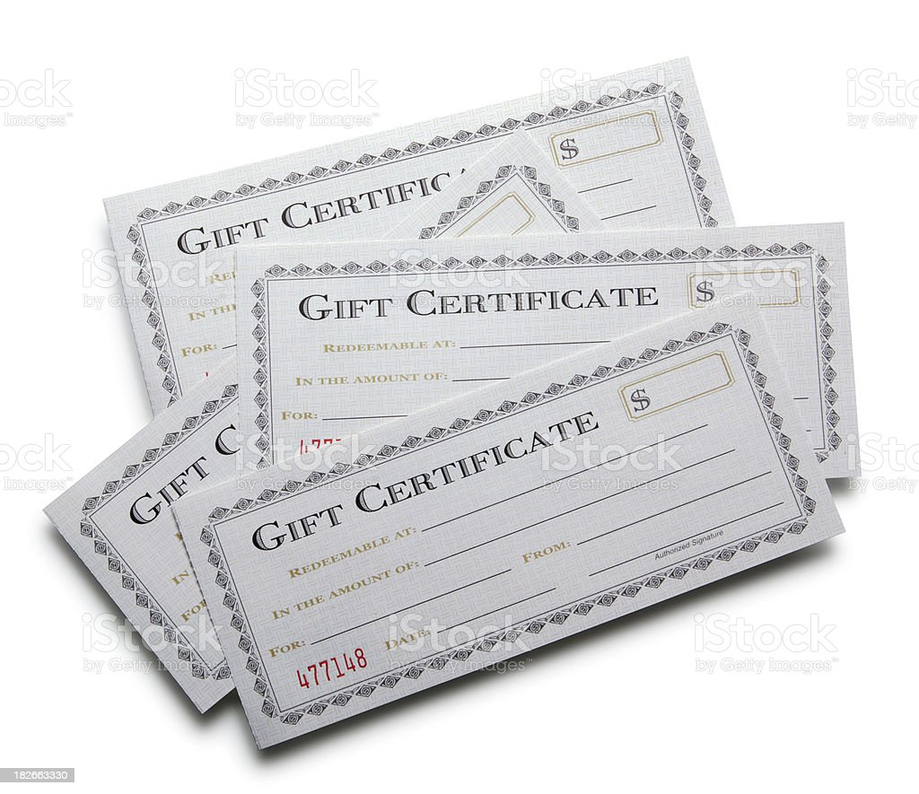 Blank Gift Certificates stock photo