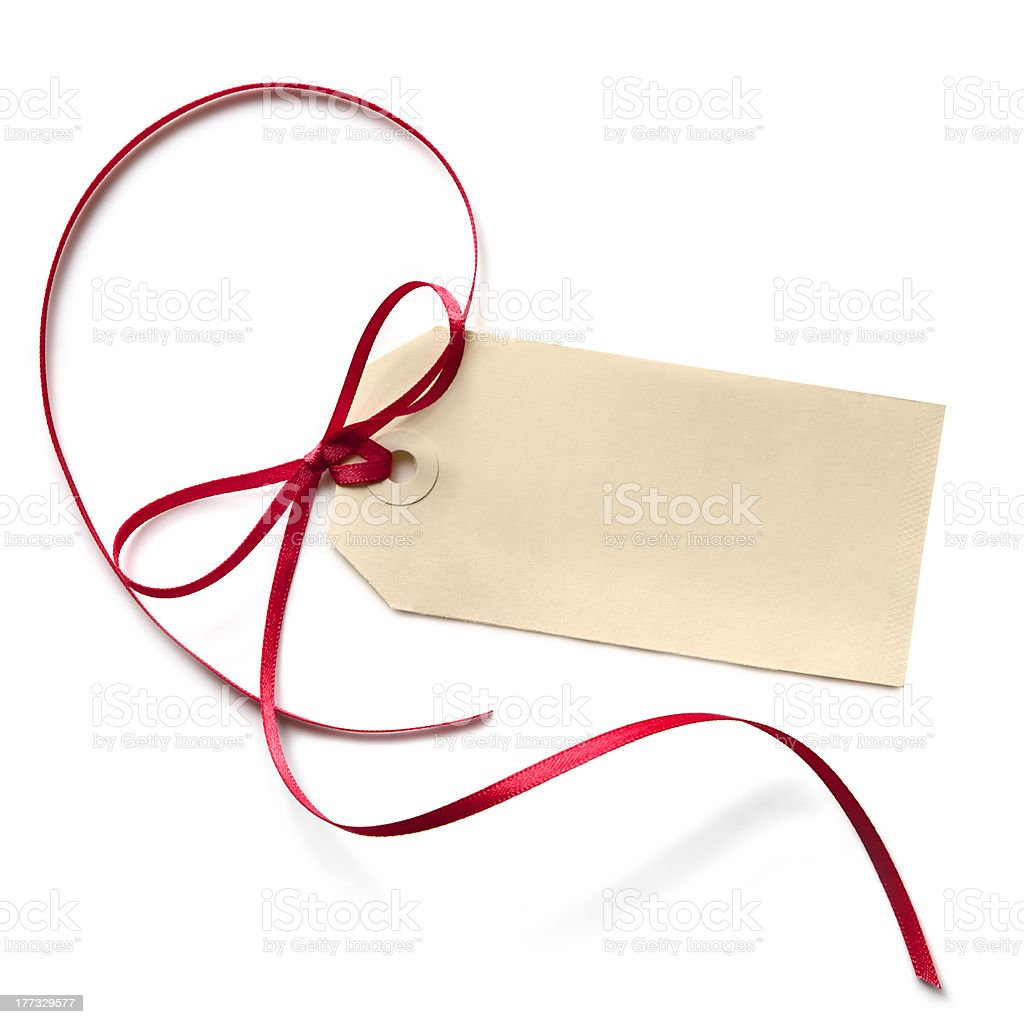Blank Gift Tag with Red Ribbon stock photo