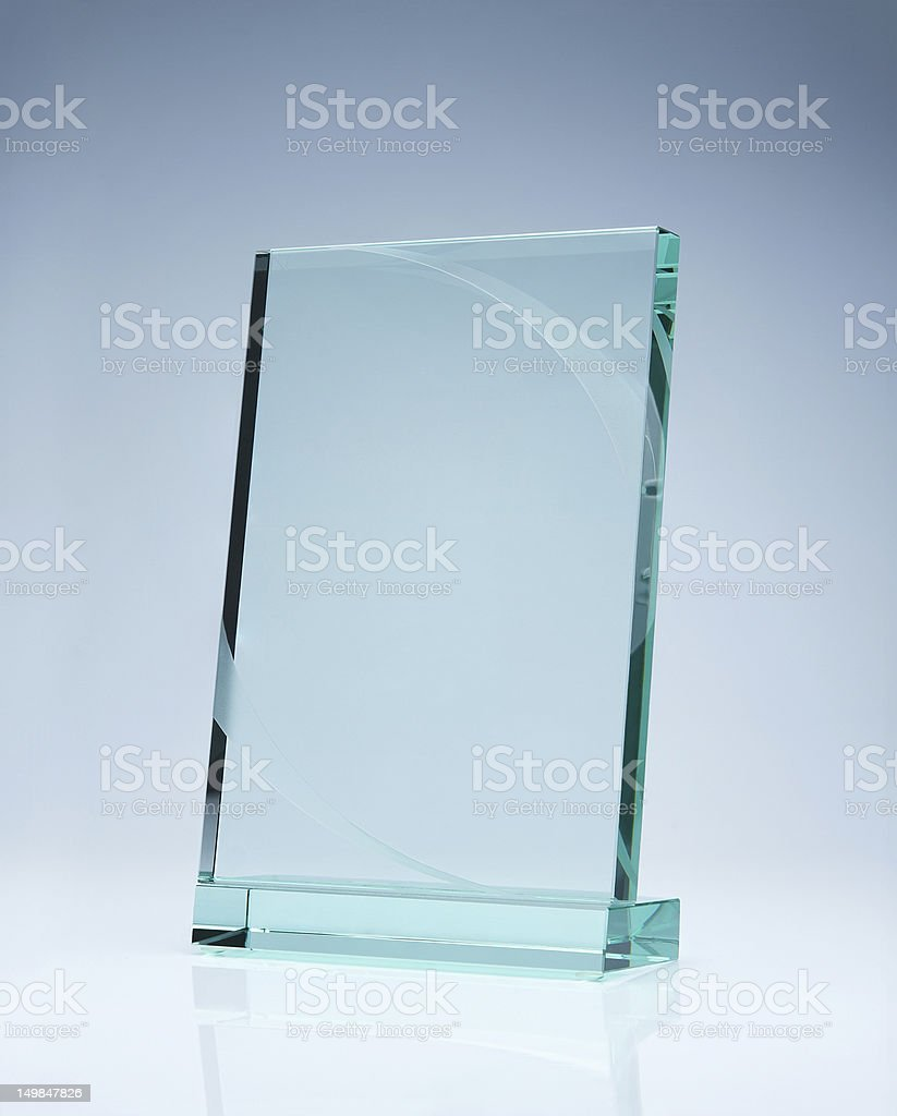 Blank glass award stock photo