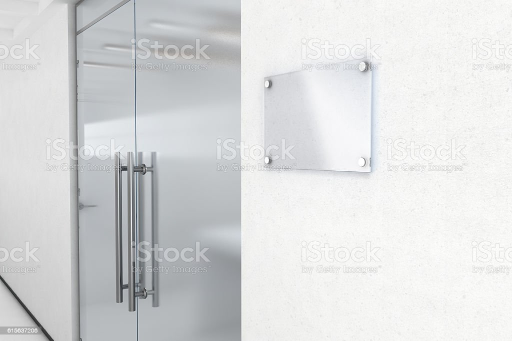 Blank glass name plate design mockup stock photo