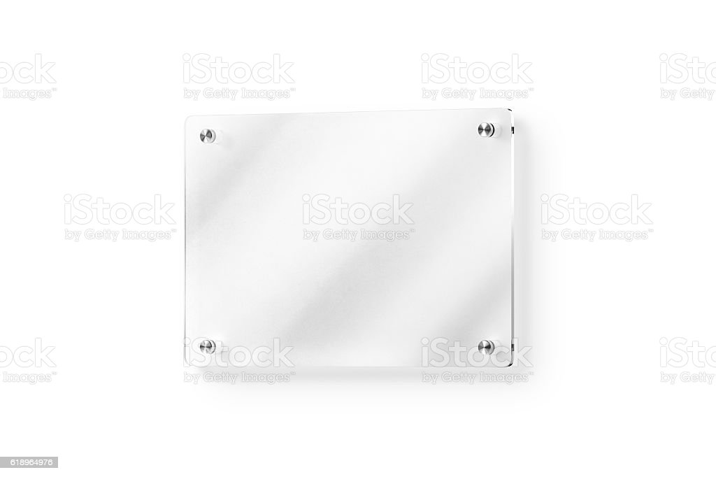 Blank glass name plate wall-mounted mockup, clipping path stock photo