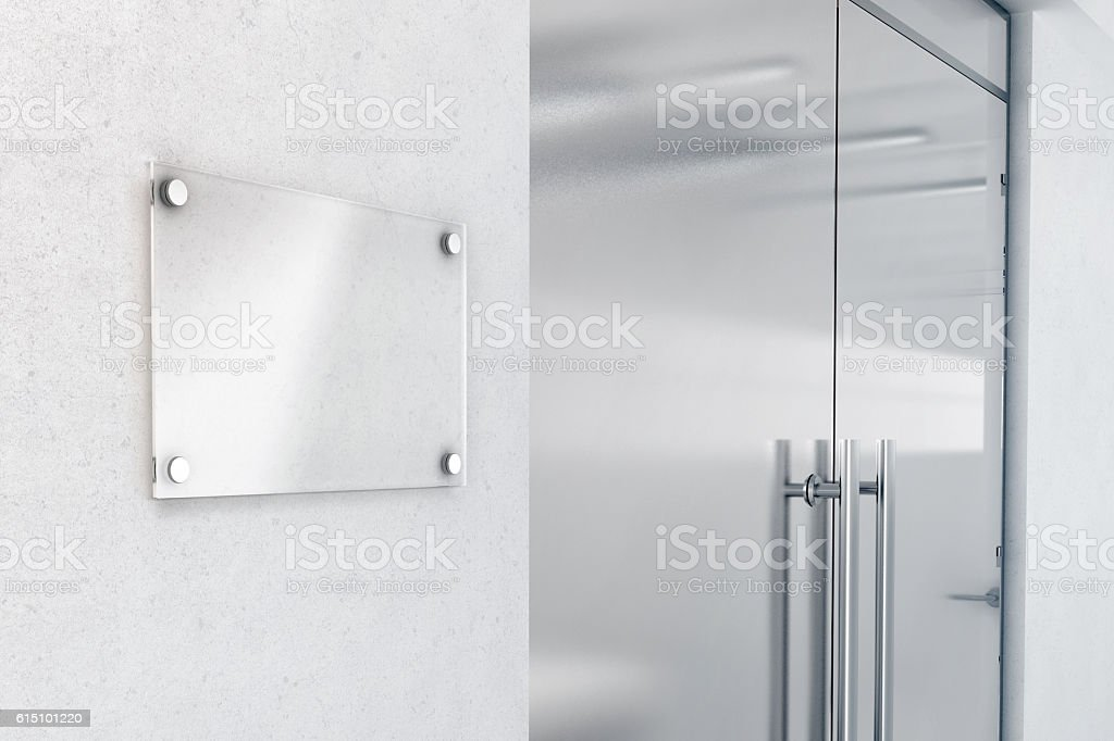 Blank glass nameplate design mockup, 3d rendering stock photo