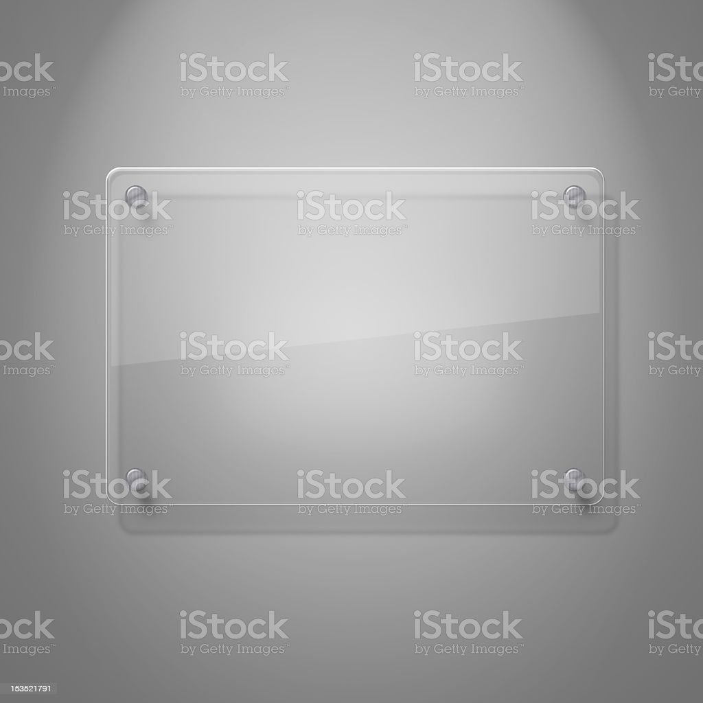 A blank glass plate against a white wall stock photo