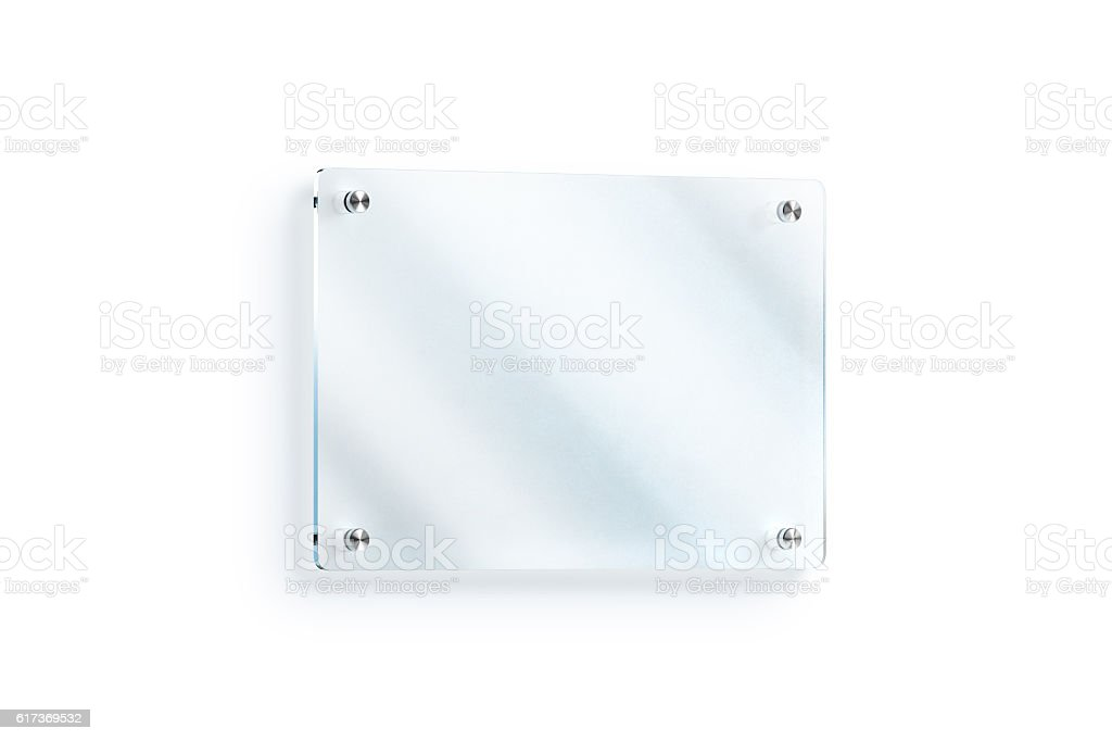 Blank glass sign plate wall-mounted mockup, clipping path stock photo