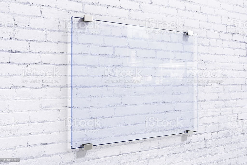 Blank glassy sighnboard on white brick wall, mock up stock photo