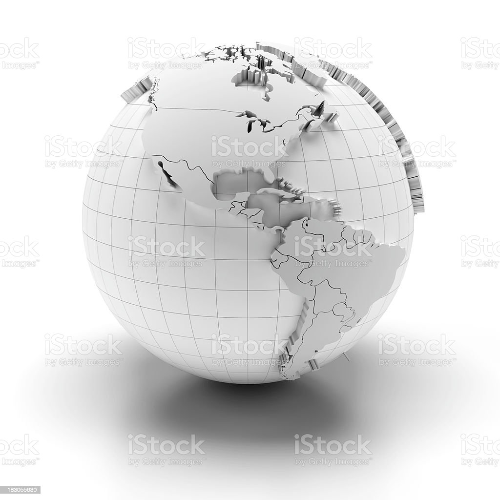 Blank globe with national borders, 3 clipping paths provided stock photo
