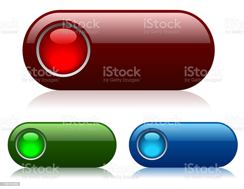 Blank glossy buttons stock photo
