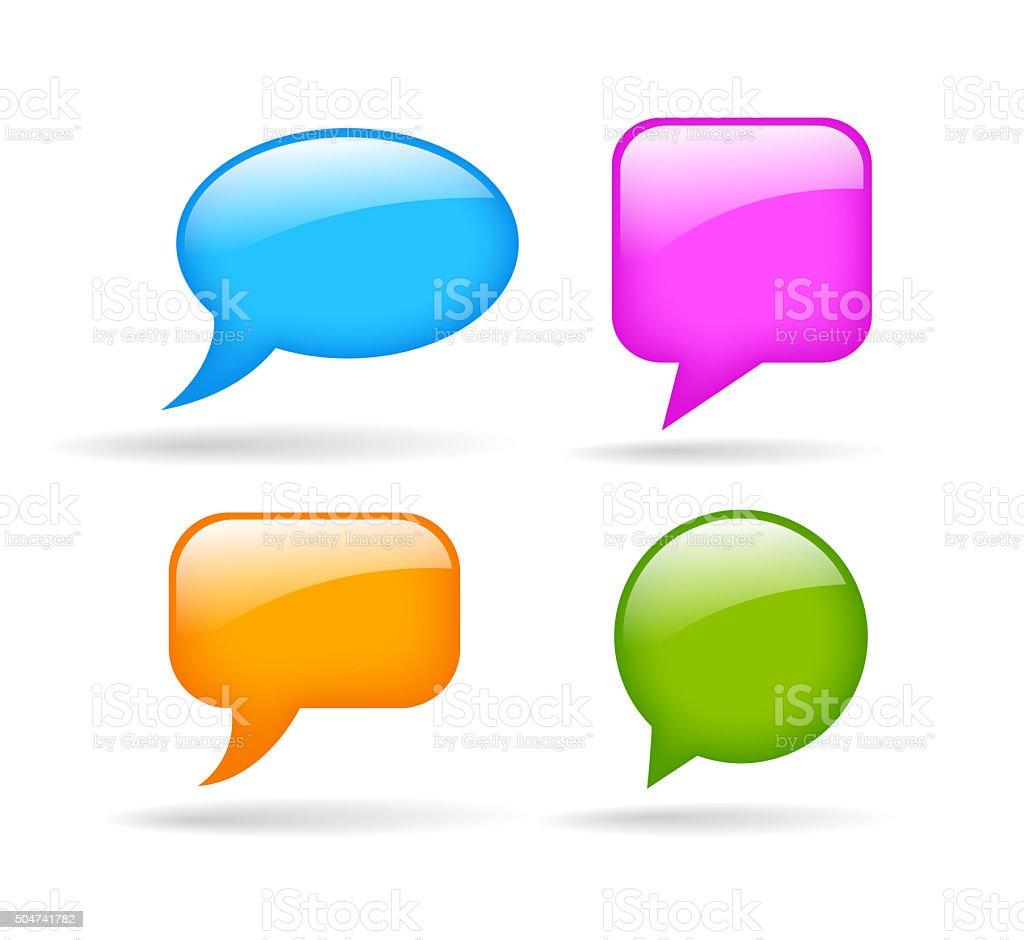 Blank glossy speech bubble stock photo