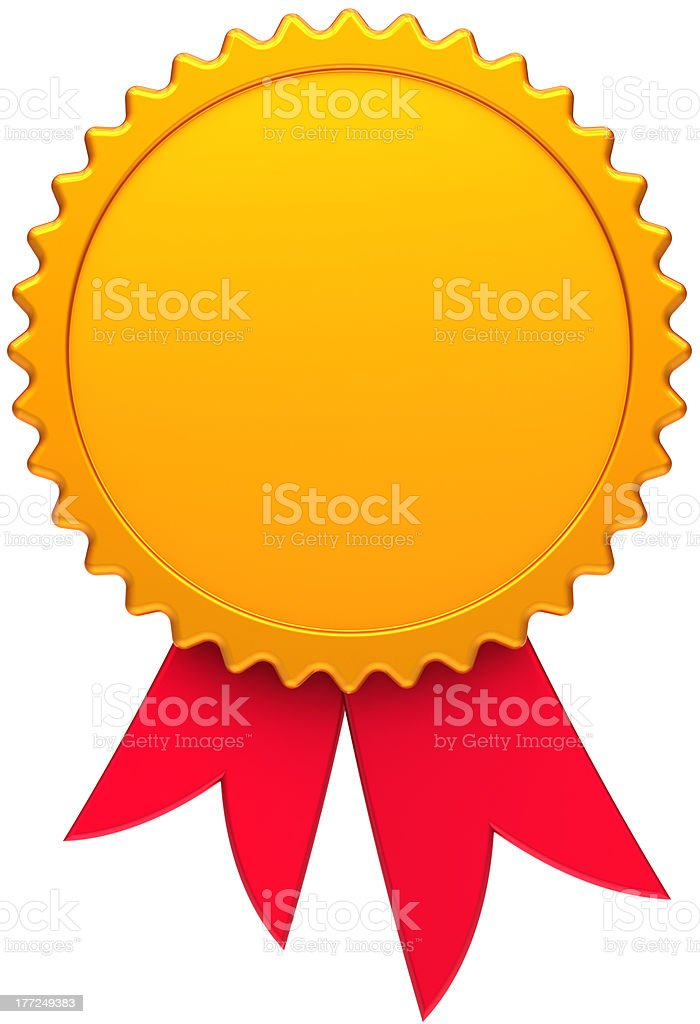 Blank gold award medal badge with red ribbon stock photo