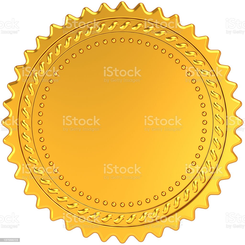 Blank gold award medal guarantee badge stock photo