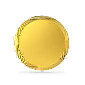 Blank gold coin, gold medal with clipping path