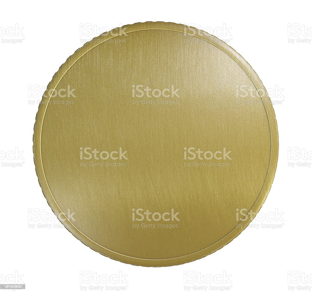 Blank Gold Coin or Medal stock photo