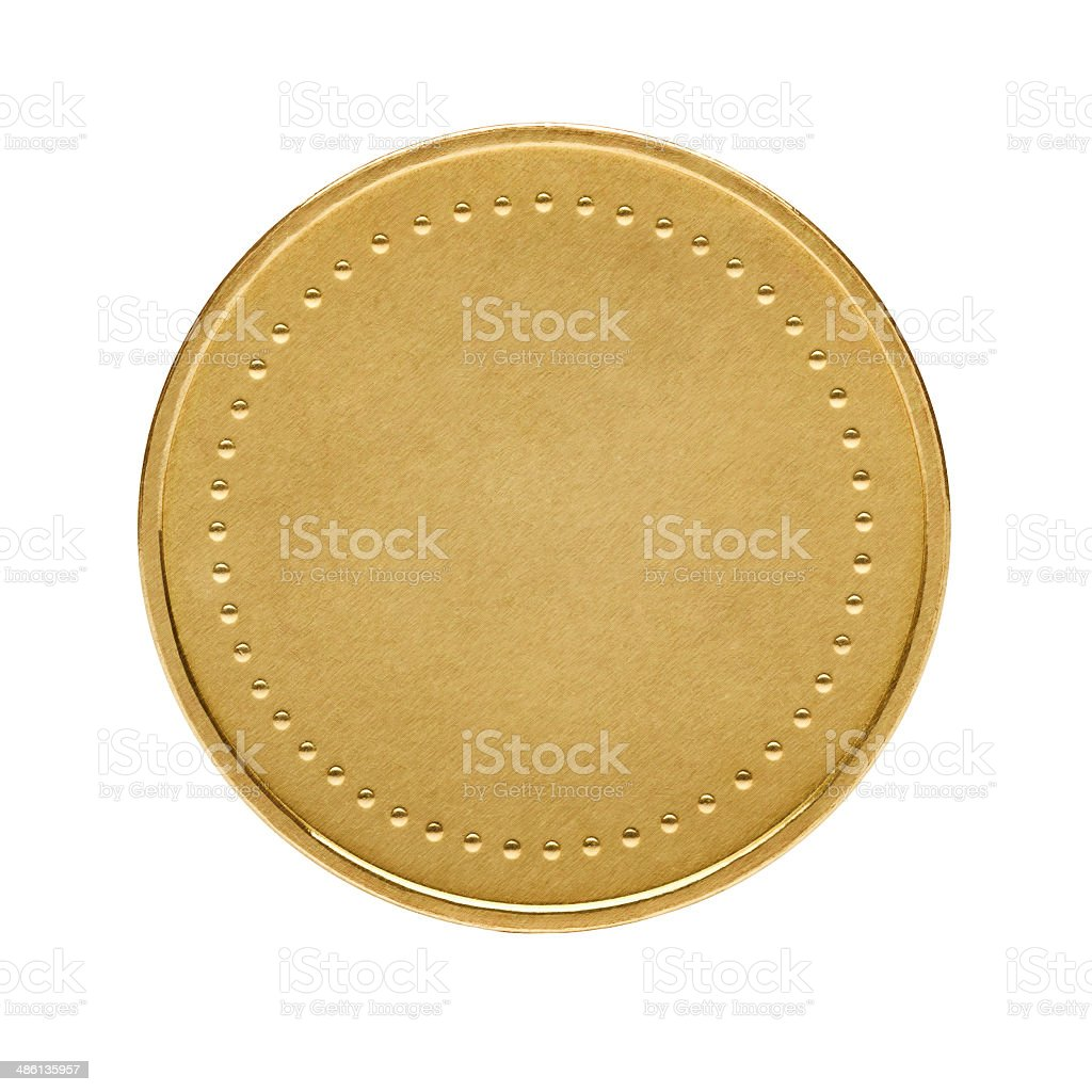 Blank gold coin stock photo