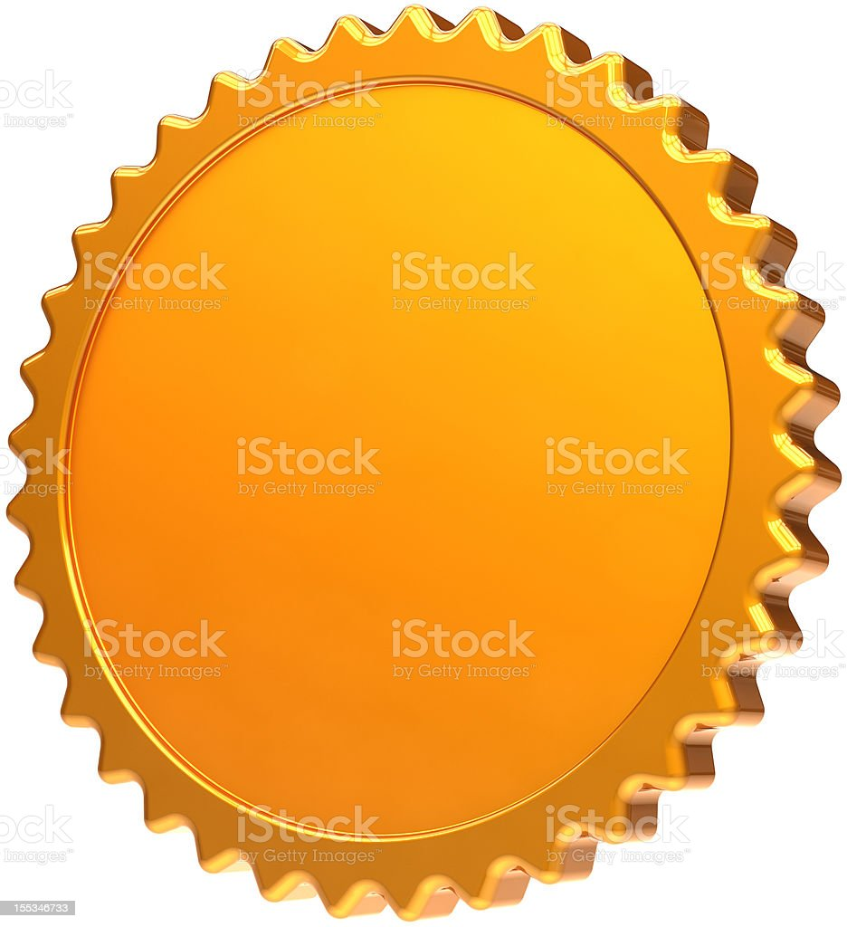 Blank gold medal award design element certificate guarantee seal icon royalty-free stock photo