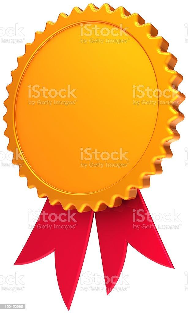 Blank gold medal award ribbon trophy royalty-free stock photo