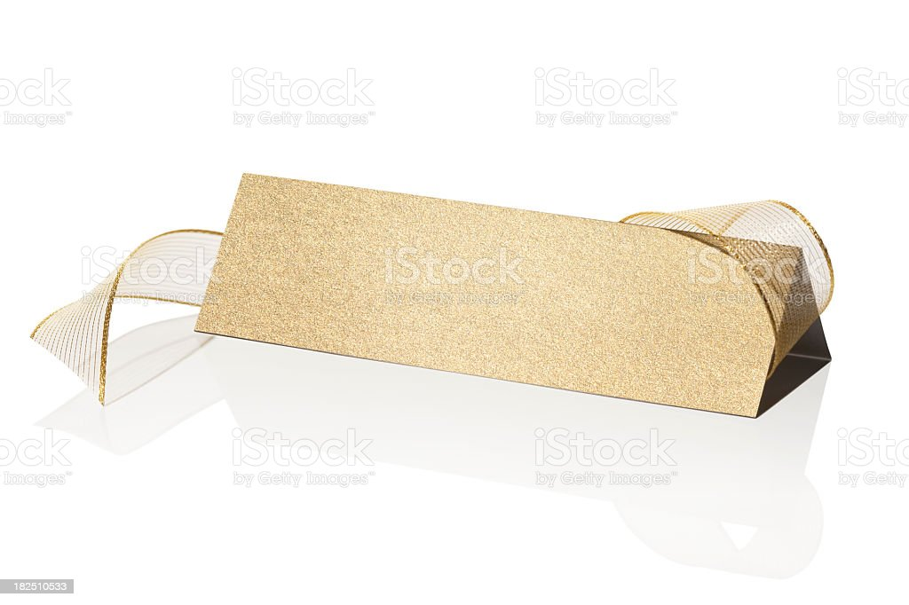 Blank gold place card stock photo