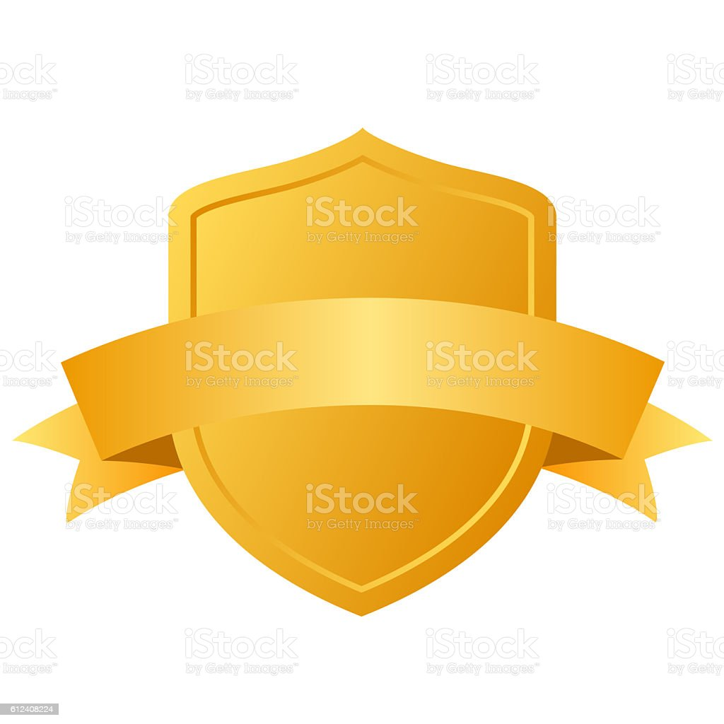 Blank gold shield stock photo