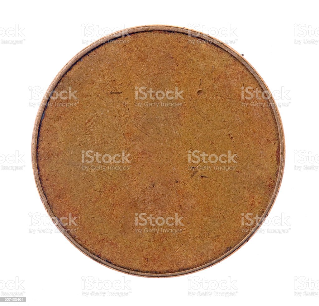 Blank golden coin isolated on white stock photo