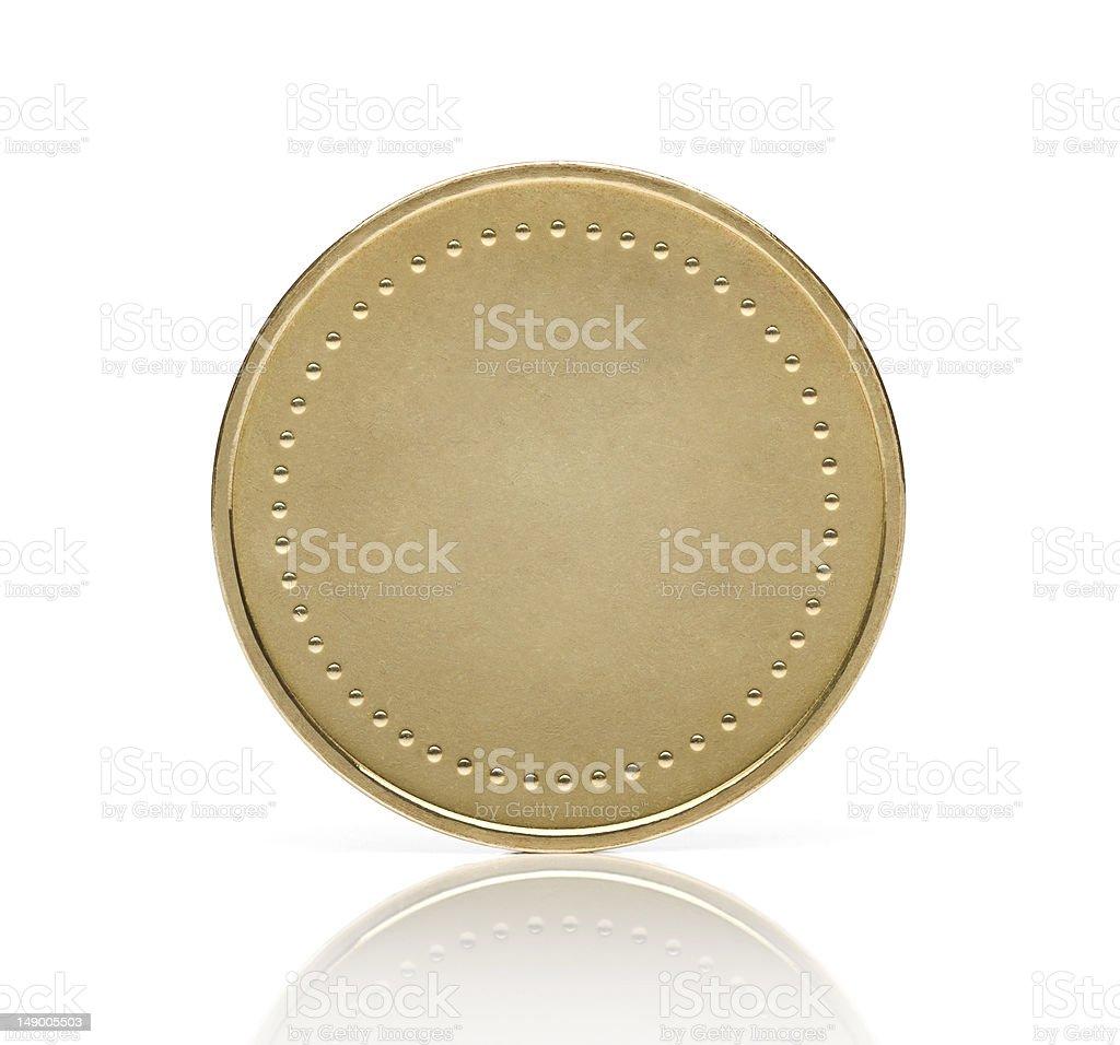 Blank golden coin stock photo