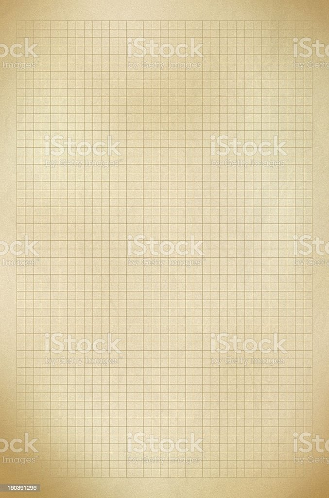Blank graph old gold paper grid sheet background or textured royalty-free stock photo