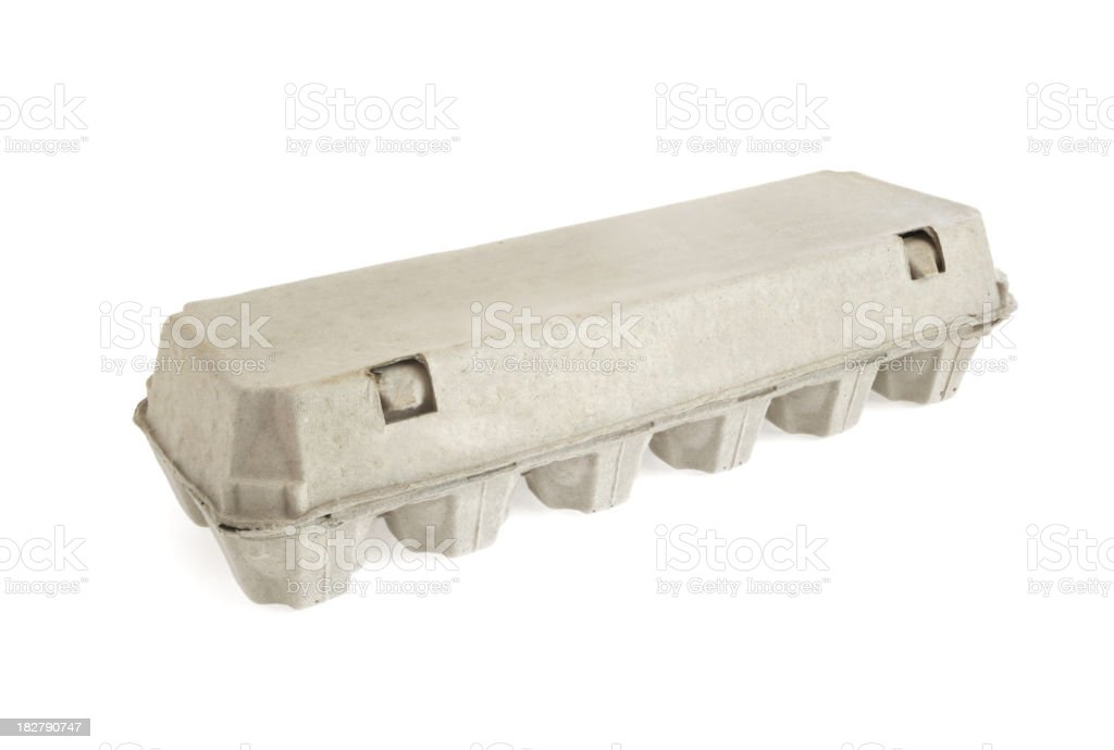 Blank gray egg carton on a white background royalty-free stock photo