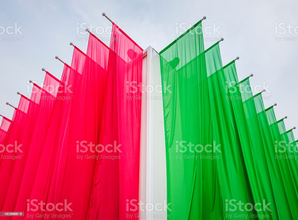 blank green and red  flag stock photo