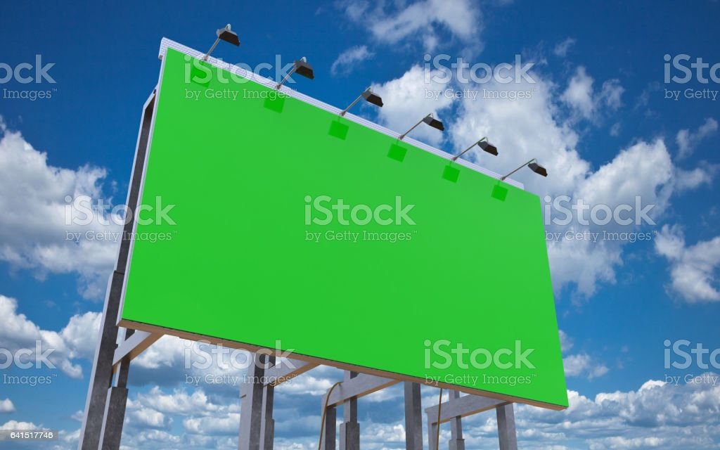 Blank green billboard for advertisement on cloudy blue sky, 3d rendered illustration stock photo