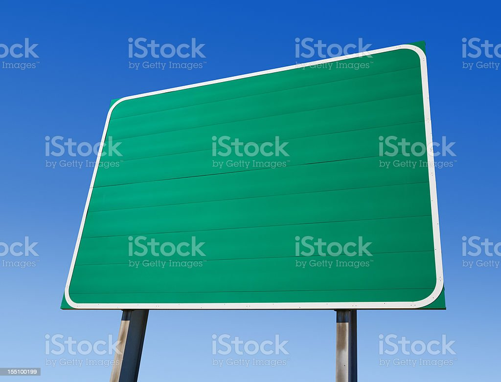Blank Green Highway Exit Sign stock photo
