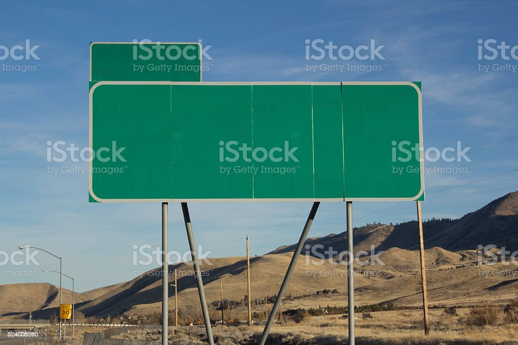 Blank Green Highway Sign stock photo