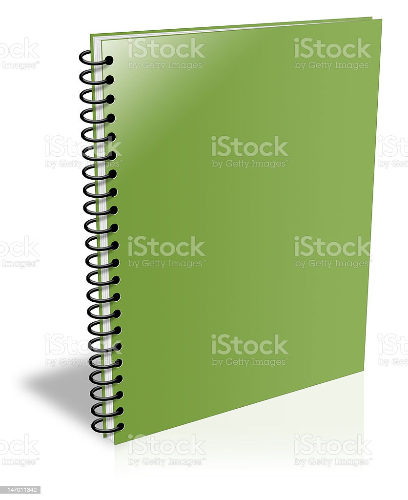 Blank green spiral notebook closed but empty ebook cover stock photo