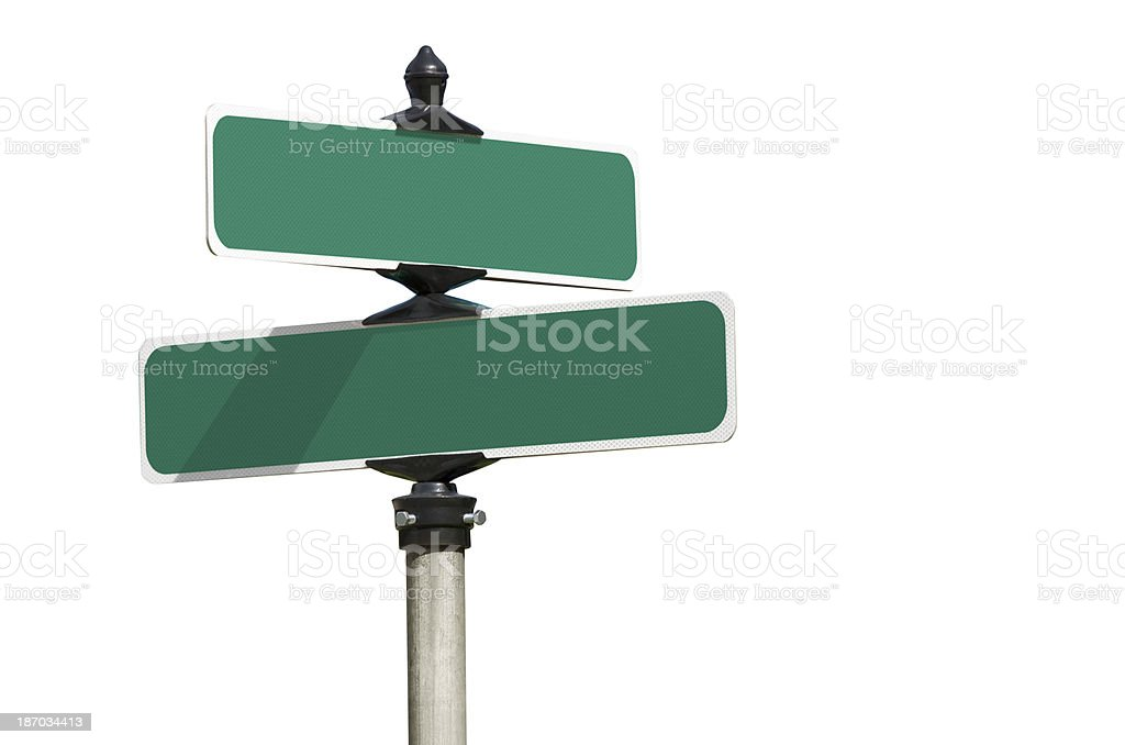 Blank Green Street Intersection Sign Isolated on White stock photo