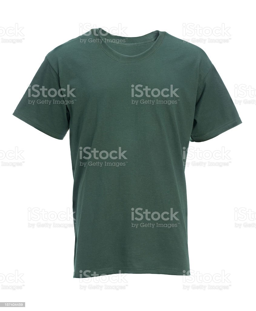 Blank green t-shirt front-isolated on white w/clipping path royalty-free stock photo