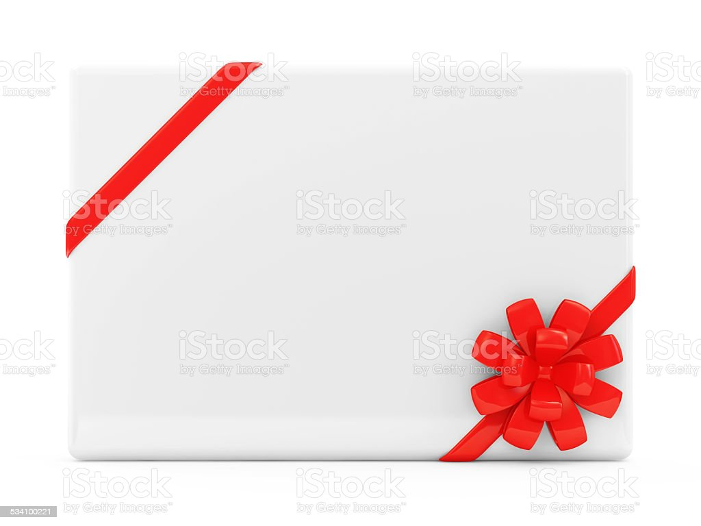 Blank Greeting Card isolated on white background stock photo