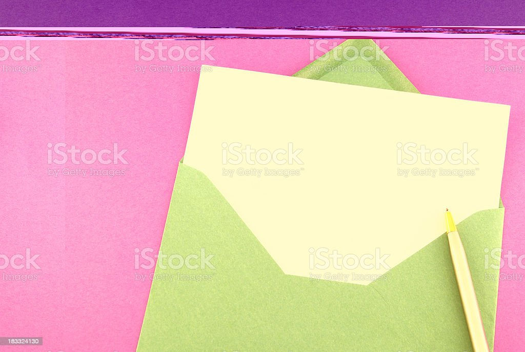 Blank greeting card on purple royalty-free stock photo