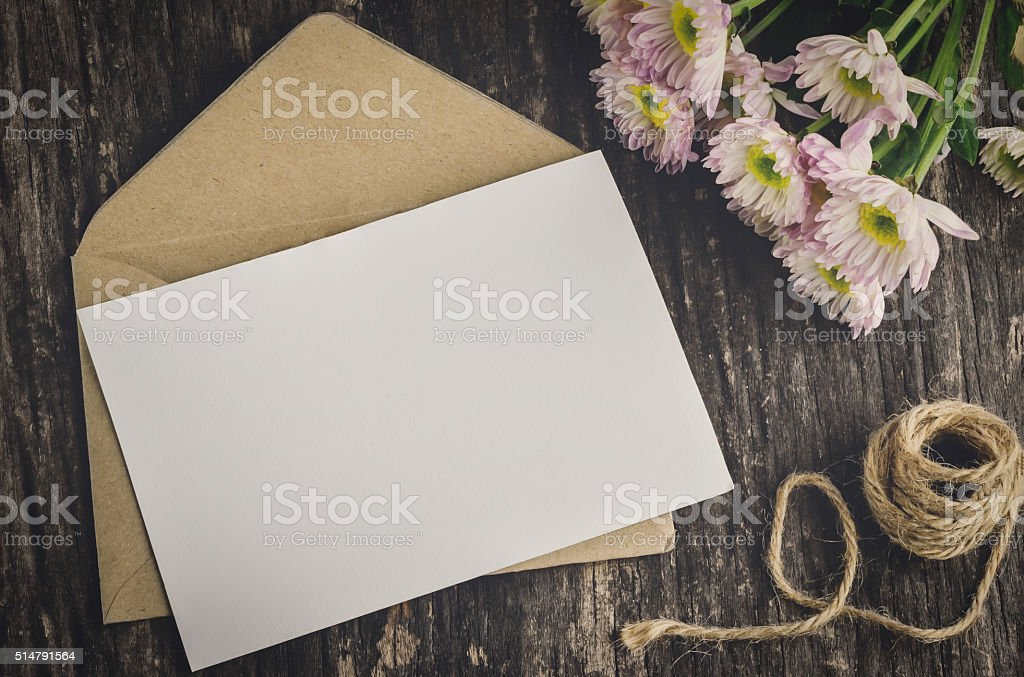 Blank greeting card with brown envelope stock photo