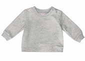 Blank grey baby child's shirt isolated.