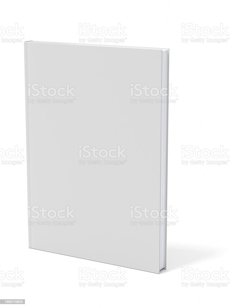 A blank grey book casting a shadow on a white background stock photo