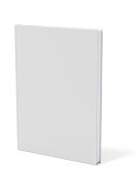 A blank grey book casting a shadow on a white background