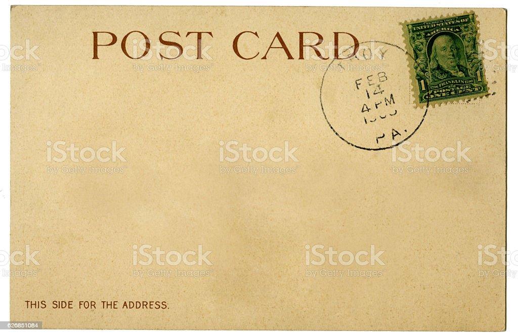 Blank grunge vintage antique postcard stamp stock photo
