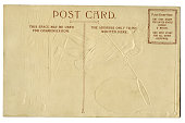 Blank grunge vintage antique postcard unused