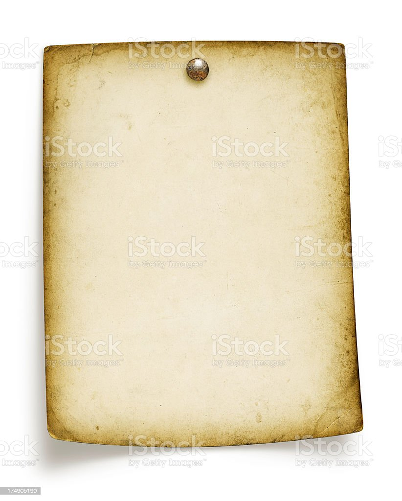 Blank Grungy Paper Tacked (Isolated, Includes Clipping Path) royalty-free stock photo