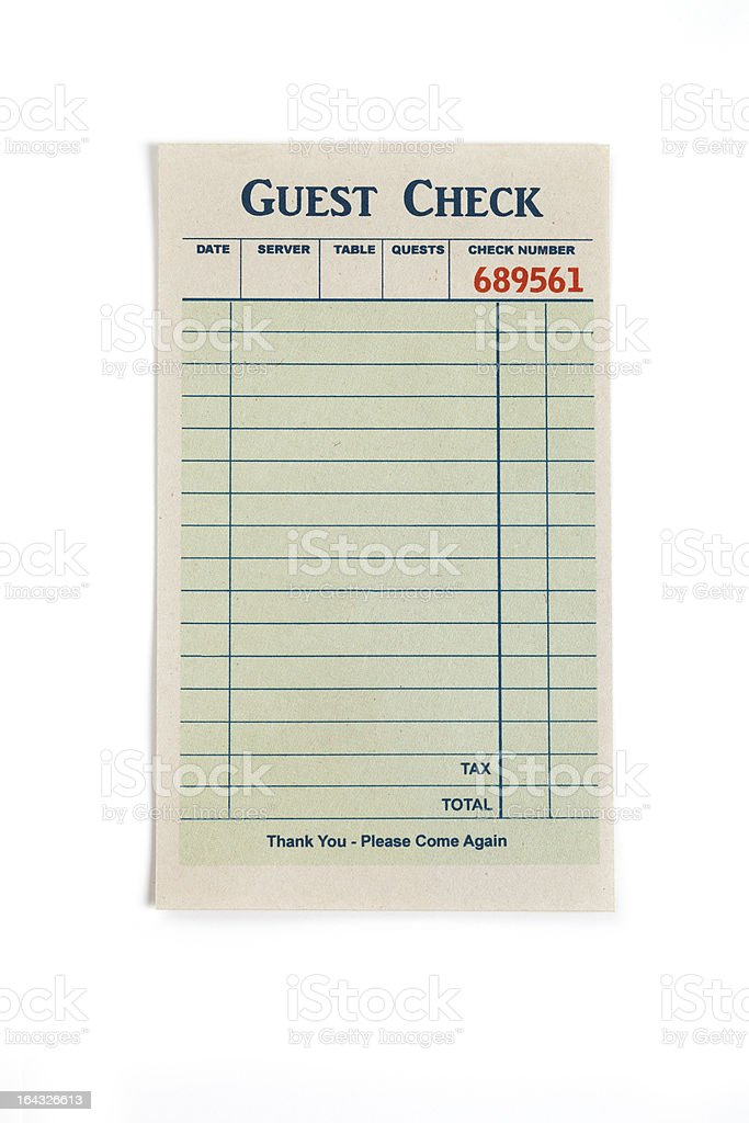 Blank Guest Check stock photo