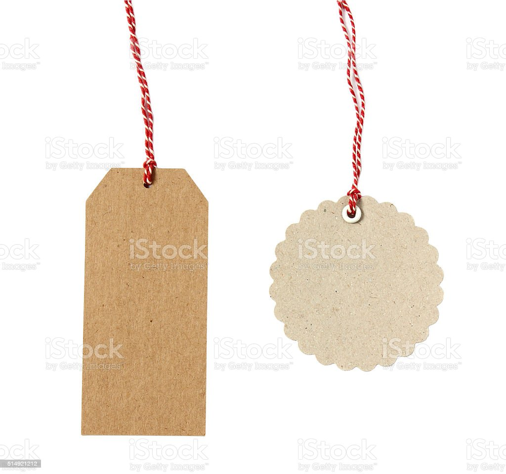 Blank hanging gift tag brown eco-friendly kraft paper stock photo