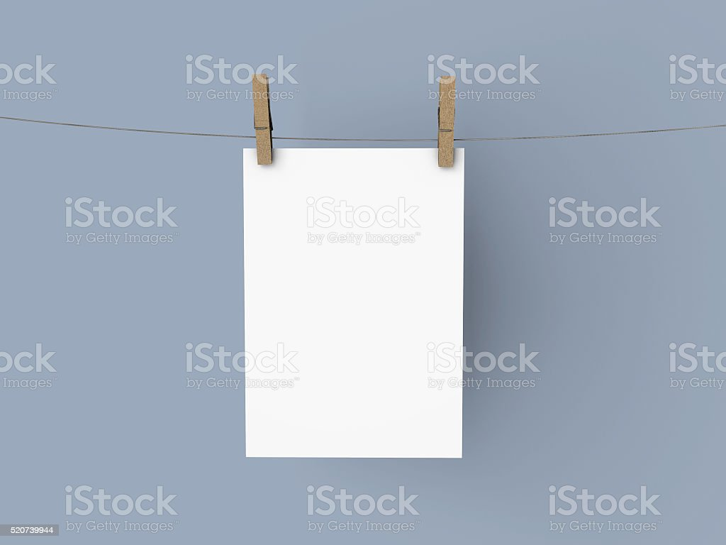 Blank hanging poster stock photo