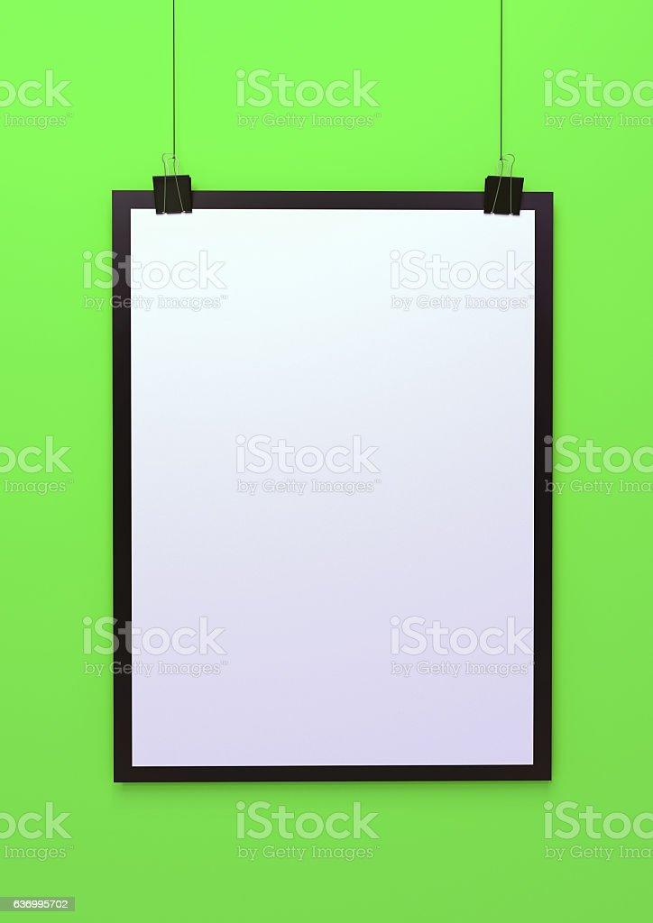 Blank hanging poster template 3d illustration stock photo