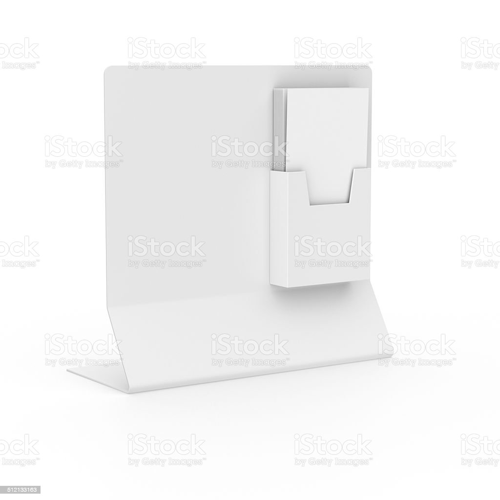 Blank holder with leaflets or dl size flyers stock photo