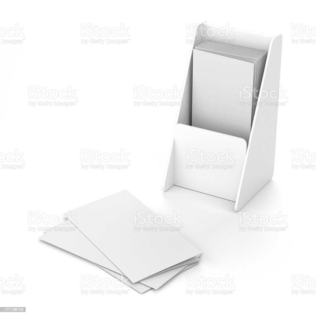 Blank holder with leaflets or fliers stock photo