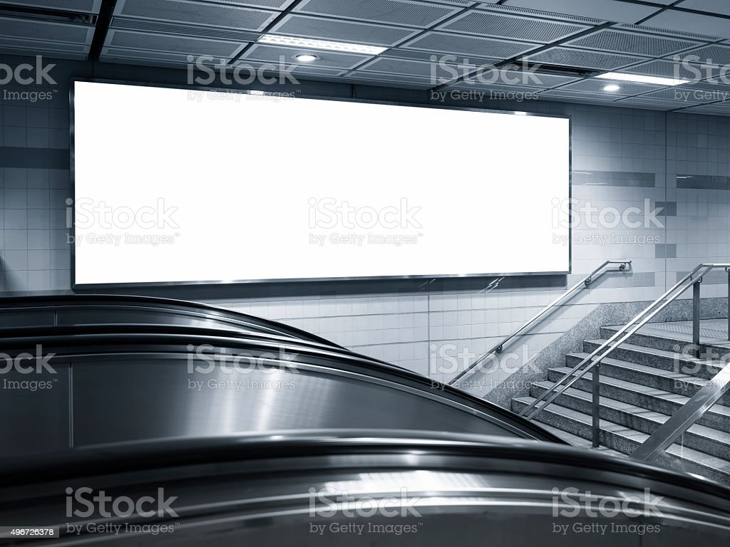 Blank Horizontal big Banner Billboard in subway station stock photo