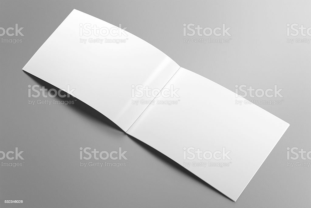 Blank horizontal brochure mockup on light grey background. stock photo