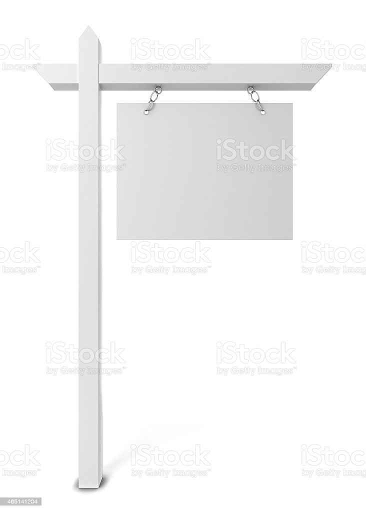 Blank House for Sale sign isolated on a white background stock photo